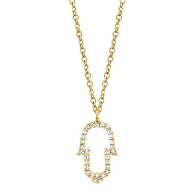 0.08ct 14k Yellow Gold Diamond Hamsa Necklace