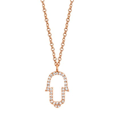 0.08ct 14k Rose Gold Diamond Hamsa Necklace