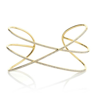 0.65ct 14k Yellow Gold Diamond Bangle