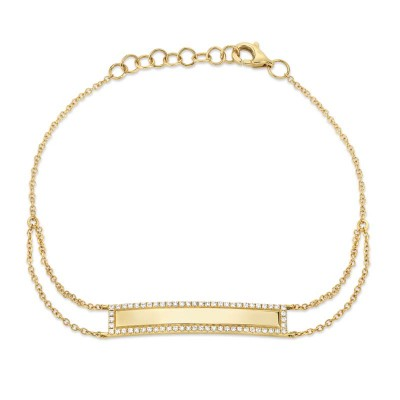 0.20ct 14k Yellow Gold Diamond Bar ID Bracelet