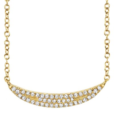 0.11ct 14k Yellow Gold Diamond Pave Crescent Necklace