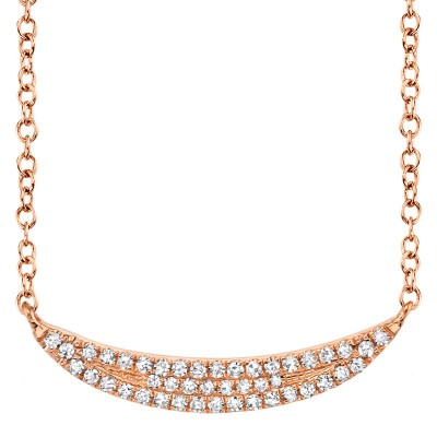 0.11ct 14k Rose Gold Diamond Pave Crescent Necklace