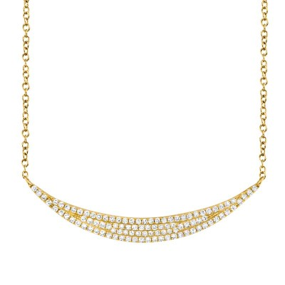 0.25ct 14k Yellow Gold Diamond Pave Crescent Necklace