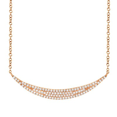 0.25ct 14k Rose Gold Diamond Pave Crescent Necklace