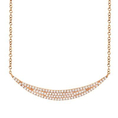 0.25ct 14k Rose Gold Diamond Pave Crescent Necklace