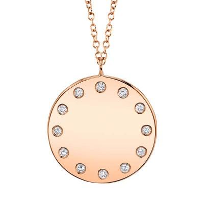 0.09ct 14k Rose Gold Diamond Necklace