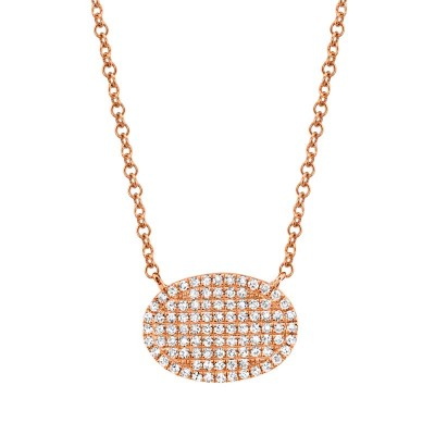 0.21ct 14k Rose Gold Diamond Pave Necklace