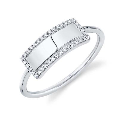 0.11ct 14k White Gold Diamond Bar ID Ring