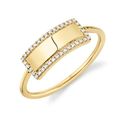 0.11ct 14k Yellow Gold Diamond Bar ID Ring