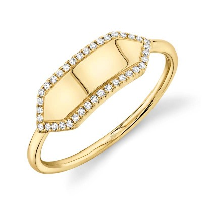 0.11ct 14k Yellow Gold Diamond Bar ID Ring