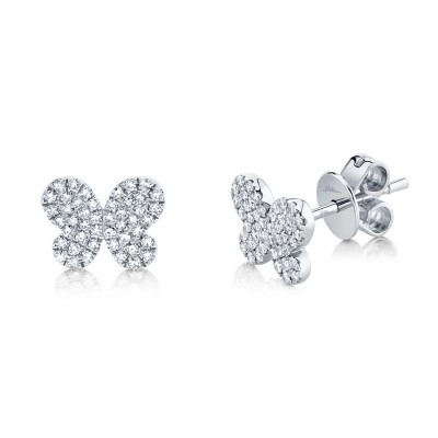 0.22ct 14k White Gold Diamond Pave ButteFashion Ringly Stud Earring