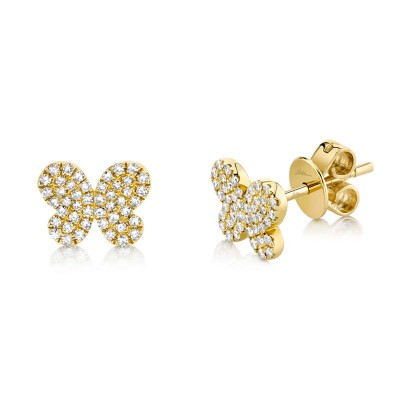 0.22ct 14k Yellow Gold Diamond Pave ButteFashion Ringly Stud Earring