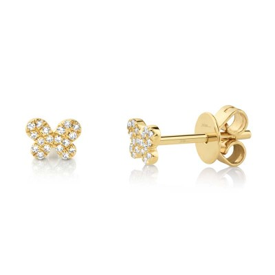 0.07ct 14k Yellow Gold Diamond Pave Butterfly Stud Earring