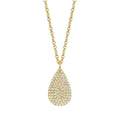 0.19ct 14k Yellow Gold Diamond Pave Necklace