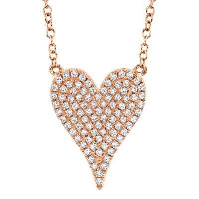 0.21ct 14k Rose Gold Diamond Pave Heart Necklace