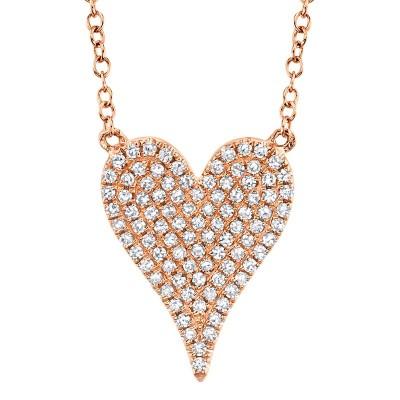 0.21ct 14k Rose Gold Diamond Pave Heart Necklace
