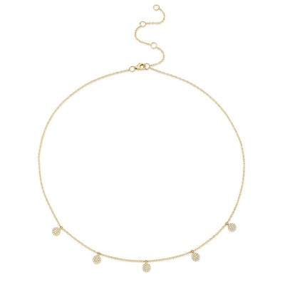0.22ct 14k Yellow Gold Diamond Pave Circle Necklace