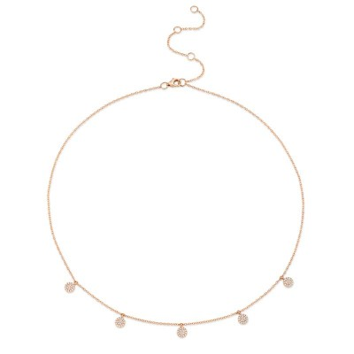 0.22ct 14k Rose Gold Diamond Pave Circle Necklace
