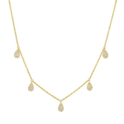 0.27ct 14k Yellow Gold Diamond Pave Necklace