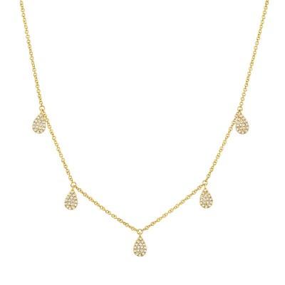 0.27ct 14k Yellow Gold Diamond Pave Necklace