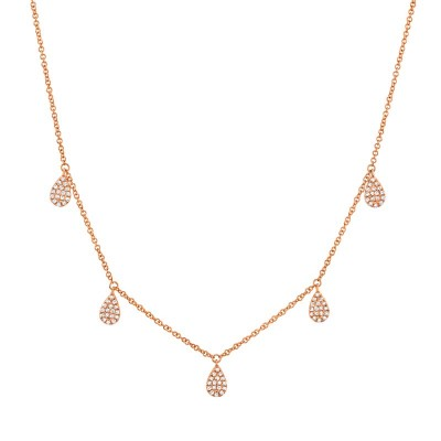 0.27ct 14k Rose Gold Diamond Pave Necklace