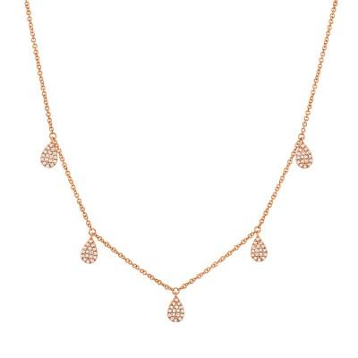 0.27ct 14k Rose Gold Diamond Pave Necklace