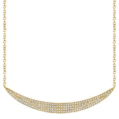 0.42ct 14k Yellow Gold Diamond Pave Crescent Necklace