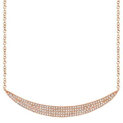 0.42ct 14k Rose Gold Diamond Pave Crescent Necklace