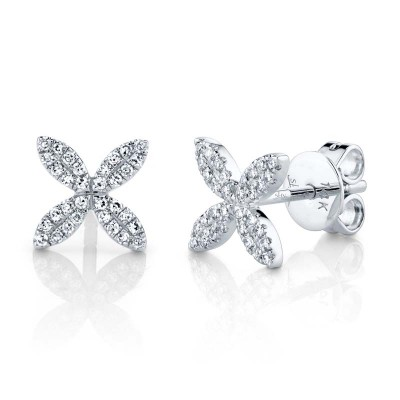 0.16ct 14k White Gold Diamond Flower Stud Earring