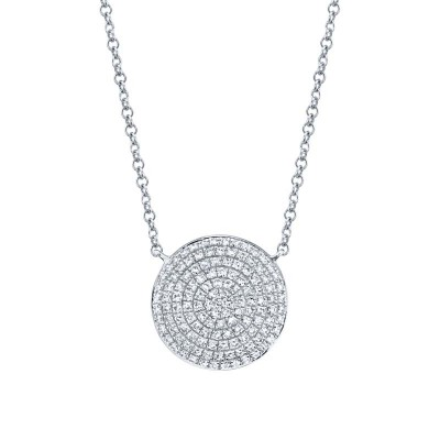 0.37ct 14k White Gold Diamond Pave Circle Necklace