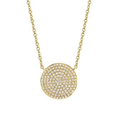 0.37ct 14k Yellow Gold Diamond Pave Circle Necklace