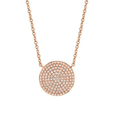 0.37ct 14k Rose Gold Diamond Pave Circle Necklace