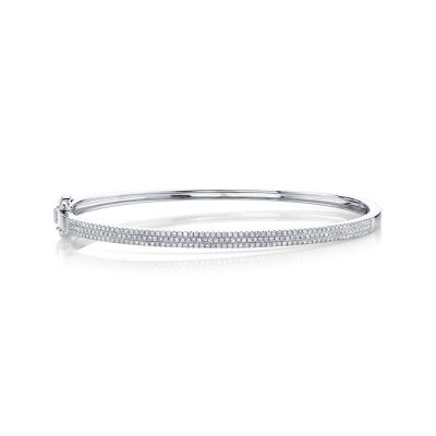0.52ct 14k White Gold Diamond Pave Bangle