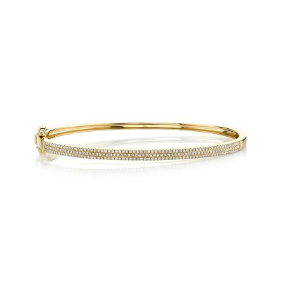 0.52ct 14k Yellow Gold Diamond Pave Bangle