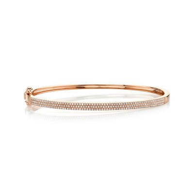 0.52ct 14k Rose Gold Diamond Pave Bangle