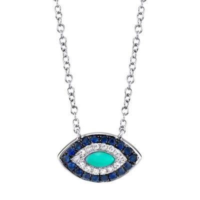 0.05ct Diamond & 0.20ct Blue Sapphire & Composite  Turquoise 14k White Gold Necklace