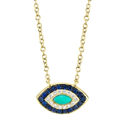 0.05ct Diamond & 0.20ct Blue Sapphire & Composite Turquoise 14k Yellow Gold Necklace