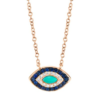 0.05ct Diamond & 0.20ct Blue Sapphire & Composite Turquoise 14k Rose Gold Necklace