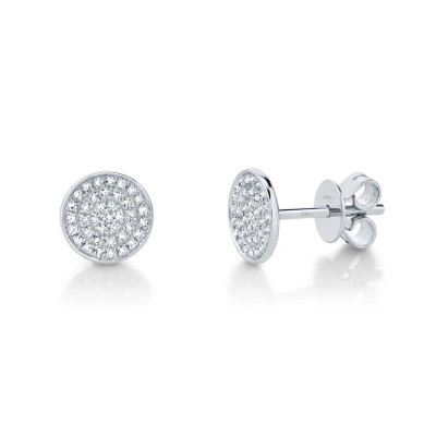 0.17ct 14k White Gold Diamond Pave Stud Earring