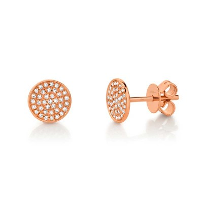 0.17ct 14k Rose Gold Diamond Pave Stud Earring