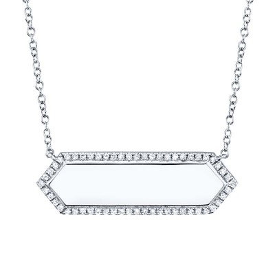 0.12ct 14k White Gold Diamond Bar ID Necklace