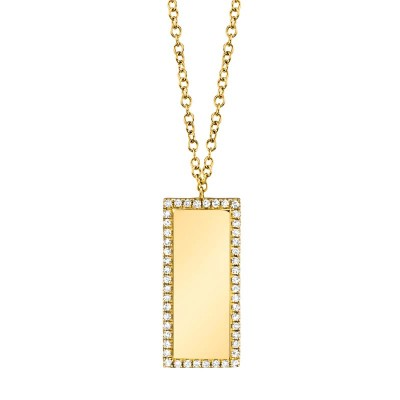0.11ct 14k Yellow Gold Diamond Bar ID Necklace