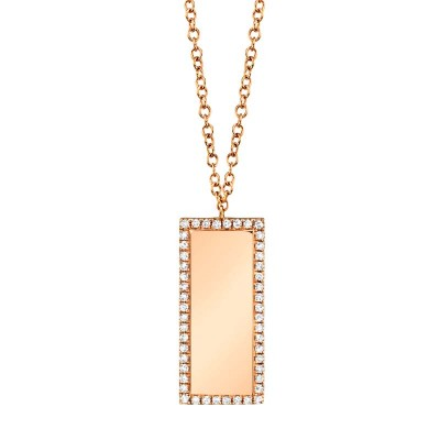 0.11ct 14k Rose Gold Diamond Bar ID Necklace