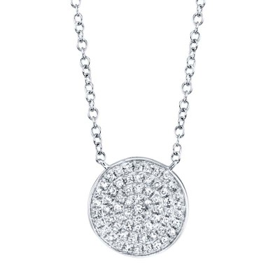 0.15ct 14k White Gold Diamond Pave Circle Necklace