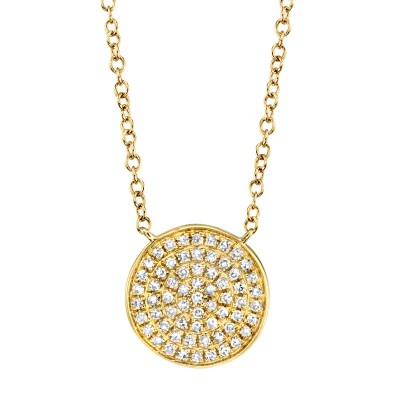 0.15ct 14k Yellow Gold Diamond Pave Circle Necklace