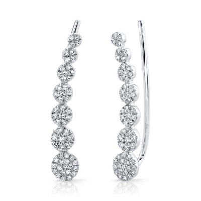 0.25ct 14k White Gold Diamond Earring Crawler Earring