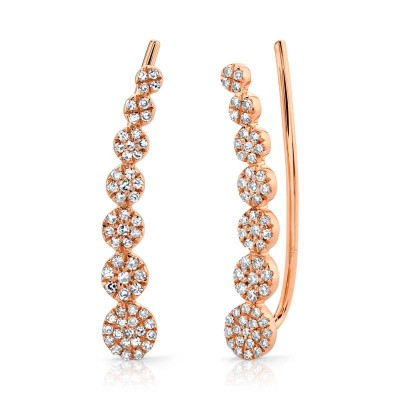 0.25ct 14k Rose Gold Diamond Earring Crawler Earring