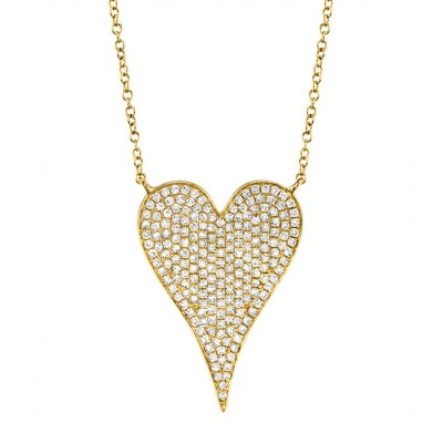 0.43ct 14k Yellow Gold Diamond Heart Necklace