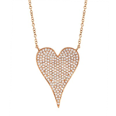 0.43ct 14k Rose Gold Diamond Heart Necklace