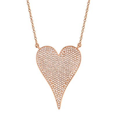 0.83ct 14k Rose Gold Diamond Heart Necklace